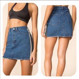 Superdown Marianne Side Stripe Denim Mini Skirt